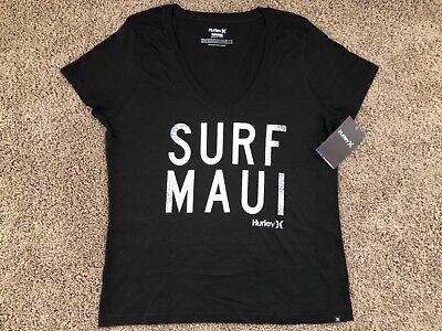 Brand New Hurley Nike Womens T Shirt Tee V Neck Surf Maui Aloha Hawaii Black Wh