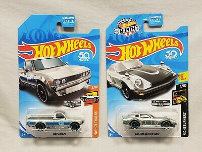 HOT WHEELS DATSUN 620 PICKUP & CUSTOM 240Z ZAMAC WALMART EXCLUSIVE MOMC CARD LOT