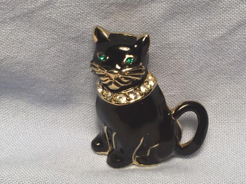 Monet Black Cat Enamel Pin Signed