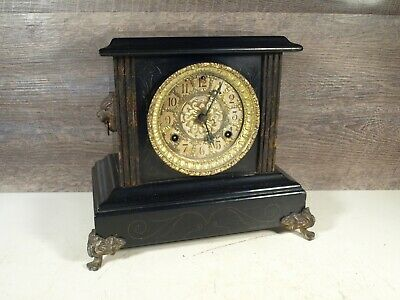 Antique Waterbury Mantle Shelf Clock Black 2 Columns & Lions Head Parts Restore