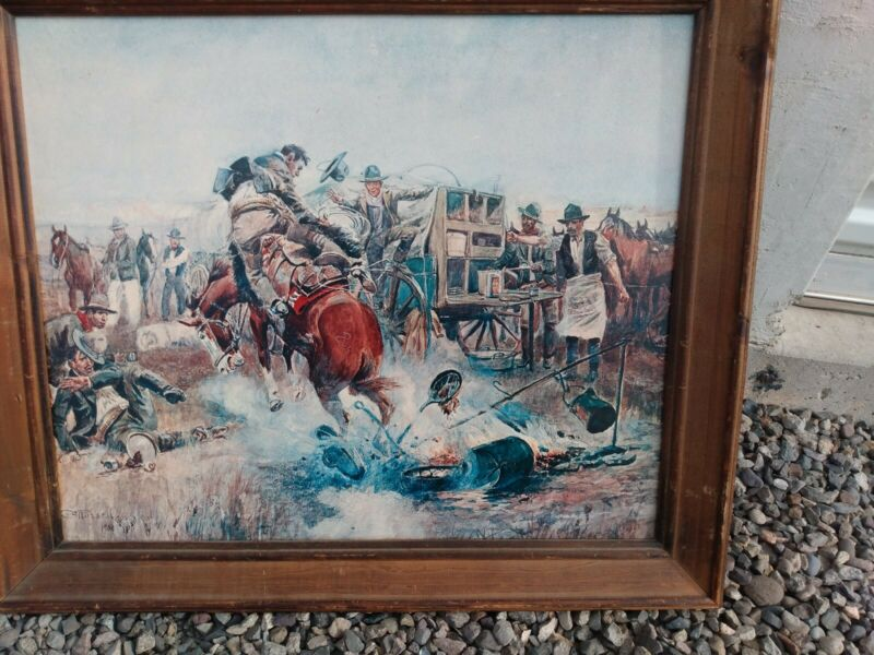 Exquisite Vintage Hand Painted Charles M. Russell Reproduction RAREST FIND!