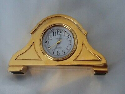 Vintage Miniature Brass Plated Mantle Clock -Stainless Steel Back - Tested