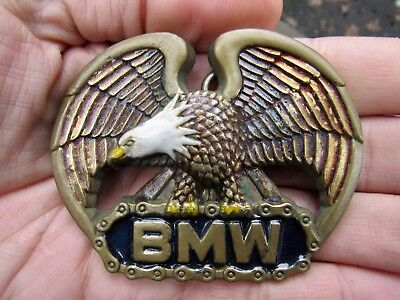 Vtg BMW MOTORCYCLE Belt Buckle 1980 Chain MC Baron 3D Brass RARE VG+ for sale  Shipping to India