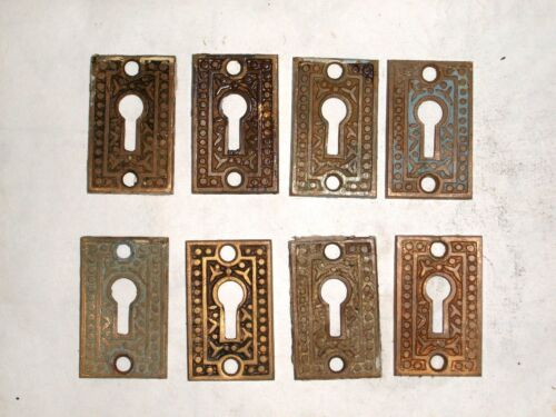 Antique Eastlake Brass Door Key Hole Covers stamped 810