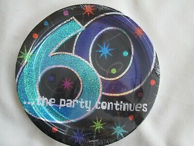 60th Birthday Party Plates (60TH BIRTHDAY PARTY PAPER PLATES THE PARTY CONTINUES 8 CT 9 IN )