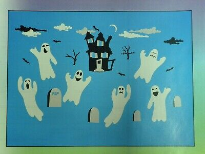 Boooooville Halloween Window Clings Vinyl Decals 7 to 9 inch Ghosts 61 pcs NEW
