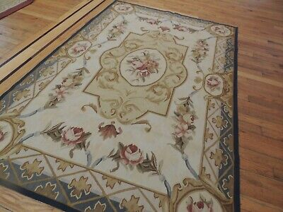 4x6 French Aubusson Area Rug Floral Beige Gold Blue Green Rust Medallion wool  Green Gold Area Rug
