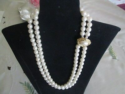 AVON VINTAGE*CAPITOL STYLE DOUBLE PEARL NECKLACE*1988*NEW IN WHITE GIFT BOX - Capitol Costume