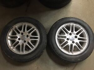 195/60R15 new MOTOMASTER tires on two FORD Focus rims 4X108 $150
