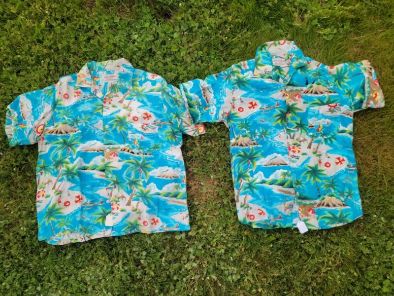 Set Vintage Hawaiian Aloha Rayon Shirt SZ Large & Small Matching