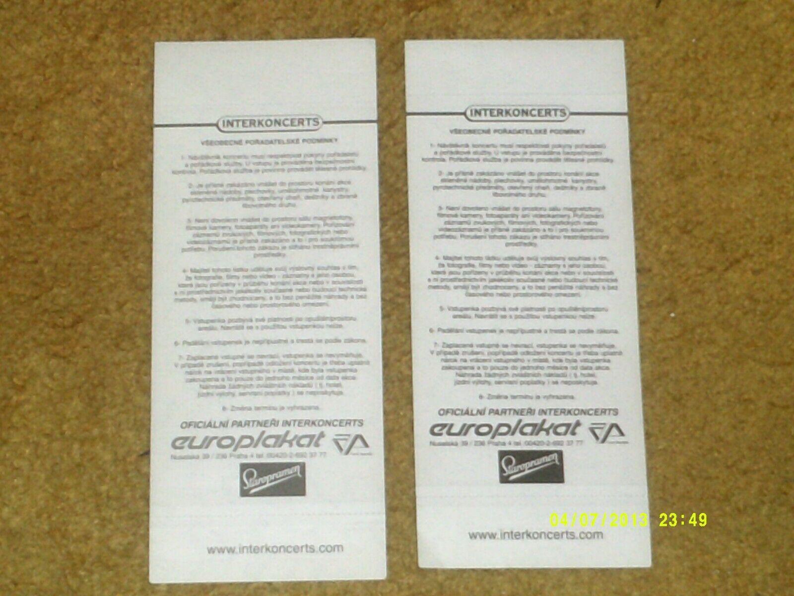 2 KISS concert tickets--PRAGUE 3/18/99--Psycho-Circus; KISS IN 3D; Gen. Adm.,VIP