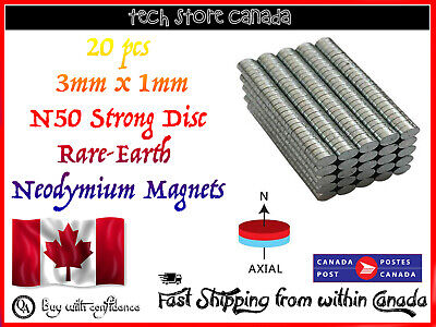 20 pcs 3x1mm N52 Super Strong Round Fridge Magnet Rare Earth Neodymium Disc