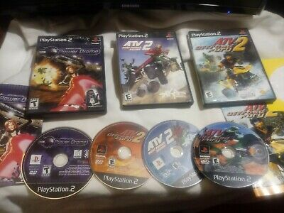 4 Prepared PS2 ATV LOT:OFFROAD FURY 1 AND 2, QUAD POWER RACING 2, AND POWER DRONE