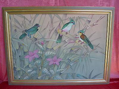 schönes, altes ,großes Gemälde__Vögel im Bambuswald __Bali__signiert !