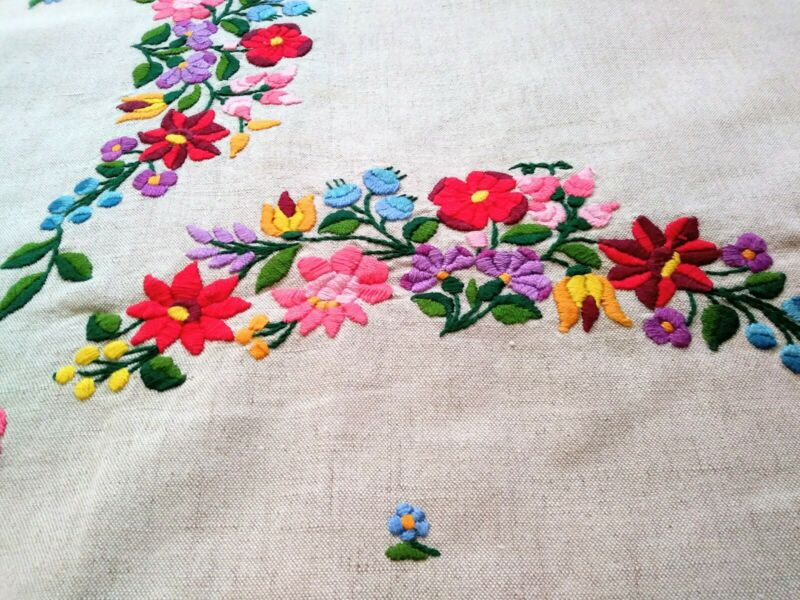 """Elaborate Colorful Floral Embroidered Tablecloth 52"""" x 50"""" Hungarian?"""