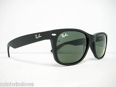 new authentic Ray Ban New Wayfarer Sunglasses Rubber Black/Green 55mm RB2132 (Wayfarer Rubber)