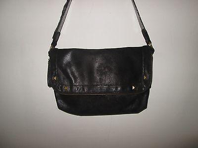 Zoe Handbag Purse - New RACHEL ZOE Black Flap Leather Baguette Handbag Purse Multiple Compartments