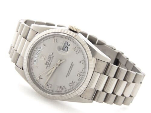 Rolex Day Date President 18239 Mens 18k White Gold Watch Silver Roman Dial