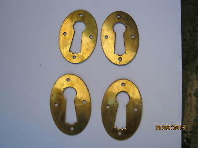 FREE POST 4. ANTIQUE BRASS KEYHOLE ESCUTCHEONS, DOORS, HARDWARE, OLD