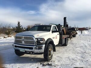 Dodge 5500 flat deck and picker trailer