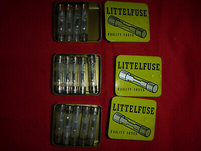 14 New Littelfuse 3ag 316a 250v 316 Amp Fuses 3 Metal Boxes Slo Blo Vintage