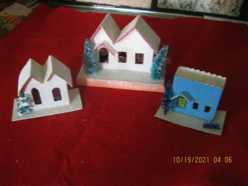 japan  Vintage Putz Mica Cardboard Houses lot of 3