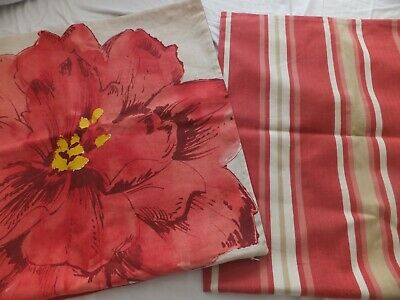 "Pottery Barn 2 Pillow Covers Zip Shams Floral & Striped Linen Cotton 20"" Square"