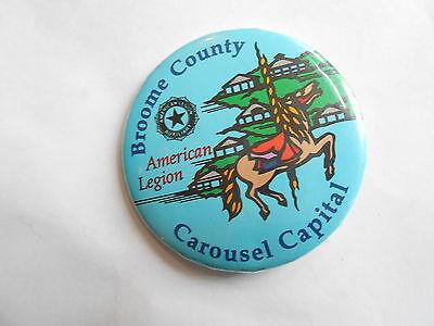 Vintage American Legion Broome County Carousel Horse Capital Souvenir Pinback