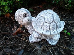 Steinfigur niedliche Schildkröte Frostfest Steinguss Deko Garten