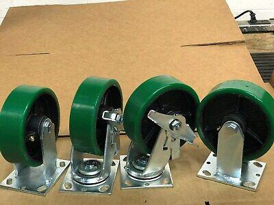 6 X 2 Swivel Polyurethane Caster With Brake Rigid Set Of 4 1000lbeach