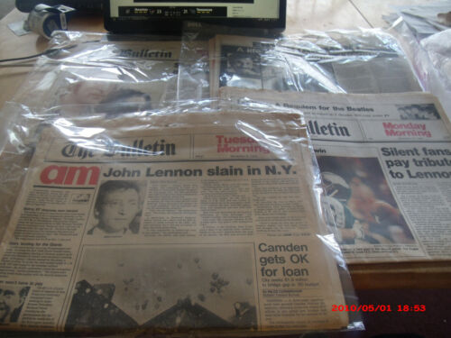 COLLECTION OF VTG  1980 NEWSPAPERS COVERING DEATH OF JOHN LENNON