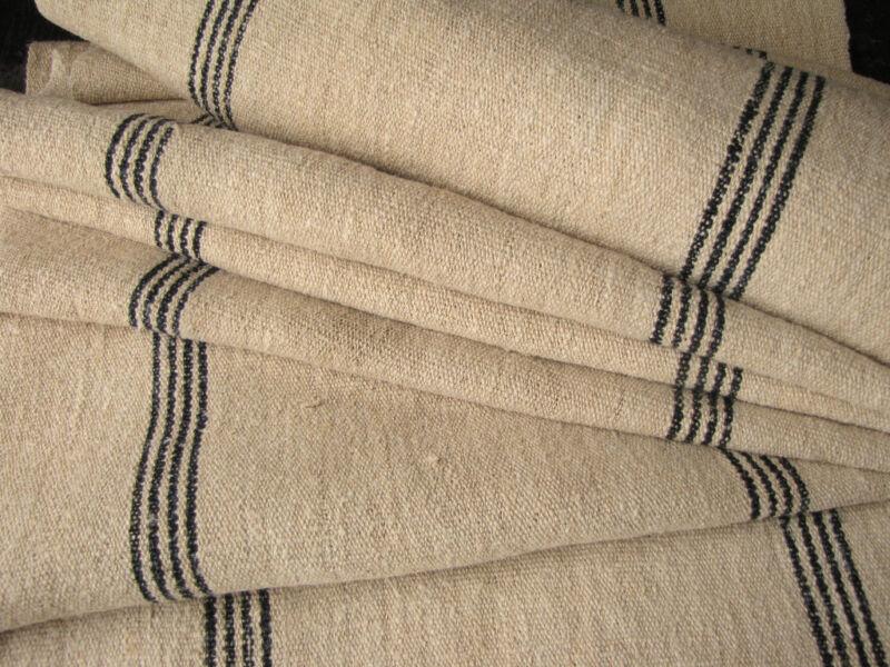 Antique fabric homespun HEMP 8.2 yds LOVELY wide blue stripes ~ indigo~ rustic ~