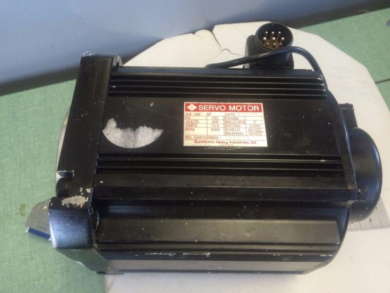 Used Sumitomo Sa615438a2 1530043  Servo Motor,4.8 Kw,8p,200 Volts, Rpm: 2000 ,ao