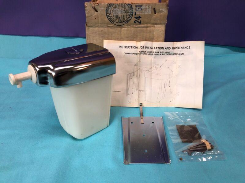 Vntg NOS BOBRICK LIQUID SOAP DISPENSER Service Station Bathroom Wall Mount Pump