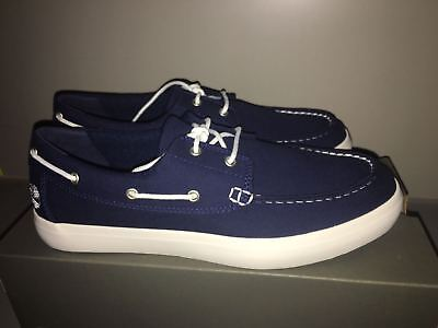 fdbb1b30347a Men s navy Timberland canvas boat wharf shoes brand new size 10.5