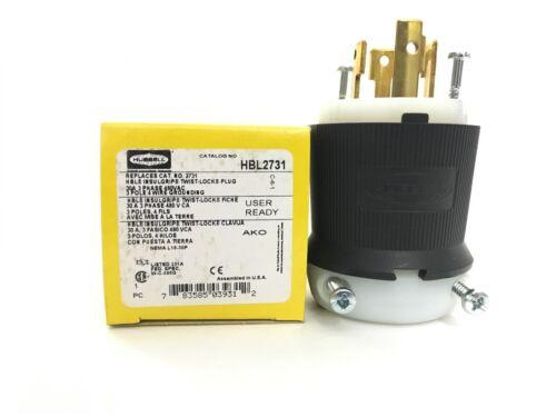 30A Twist-Lock Plug 3P 4W 480VAC L16-30P BK/WT HBL2731
