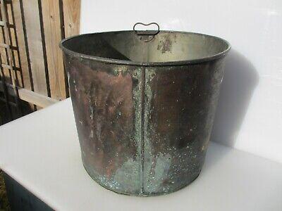 Victorian? Copper Log Basket Coal Bucket Planter Tub Plant Pot Antique Old 17
