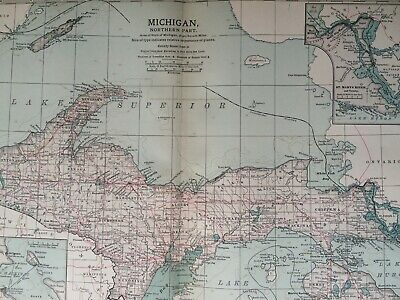 1903 Michigan (Northern Part) Original Antique Map United States Vintage