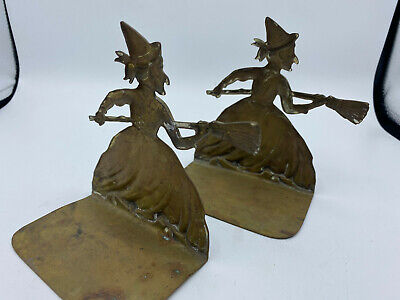 Witch with Broom Brass Bookends