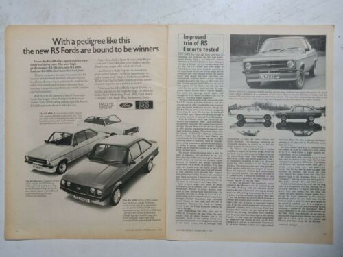 1976 FORD ESCORT RS MEXICO RS2000 & RS1800 BRITISH MAGAZINE ROAD TEST + ADVERT