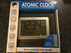 La Crosse Technology Atomic Digital Clock Weather Station Indoor/Outdoor- Brown
