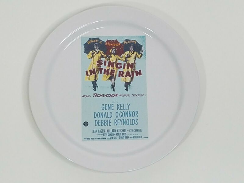 """Pottery Barn x TCM Singin In The Rain Movie Poster Salad Appetizer Plate 8.25"""""""