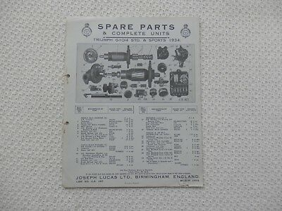 TRIUMPH G10/4 Standard and Sports 1934 LUCAS Parts List published March 1934