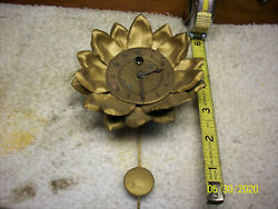 Antique 1930 LUX Sunburst Sunflower Metal Pendulette Wall Clock 511 w/ Key