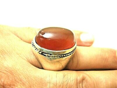 Carnelian Jewelry Carnelian sterling silver ring Mens Heavy Arabic Ring Two Tone Arabic Ring Natural Carnelian Ring size 7 Carnelian Ring