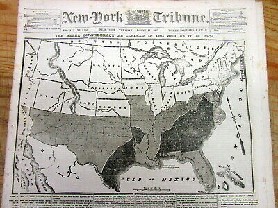 <Best 1863 Civil War newspaper w FRONT PAGE MAP of the SHRINKING