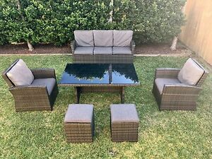 Malta 7 seater wicker outdoor lounge dining setting grey/charcoal Beerwah Caloundra Area Preview
