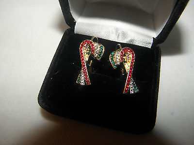 (CANDY CANE EARRINGS AUSTRIAN CRYSTAL CHRISTMAS GIFT GOLD TONE GLITTERING PIERCED)