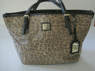 Anne Klein Faux Cheetah Print Tote Handbag Gold Colored Hardware