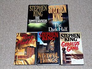 Stephen-King-Lot-of-5-1st-Edition-HC-DJ-Books-The-Dark-Half-Needful-Things-More